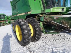 Factory duals for sale at Combine World. For John Deere JD 9500-9610-CTS combines. 18.4x38 tires. Complete with axle & ladder extensions, spacers & hardware. Sold with warranty.