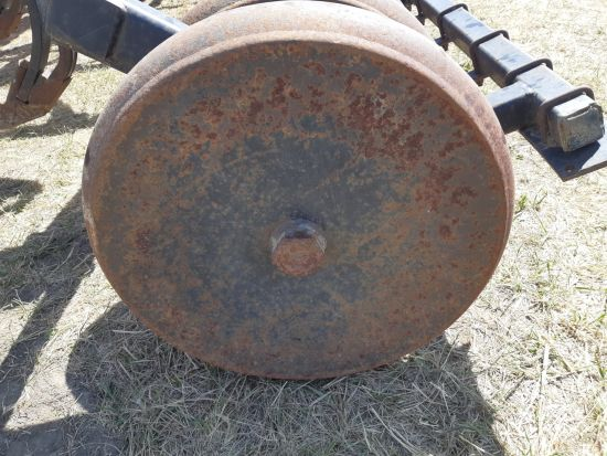 """4.5"""" steel packers from a Bourgault 5710 air drill for sale at Combine World in Saskatoon, SK. 10"""" spacing. Price is per packer, sold by the gang. Gangs of 6, 5, & 4. (Front view)"""