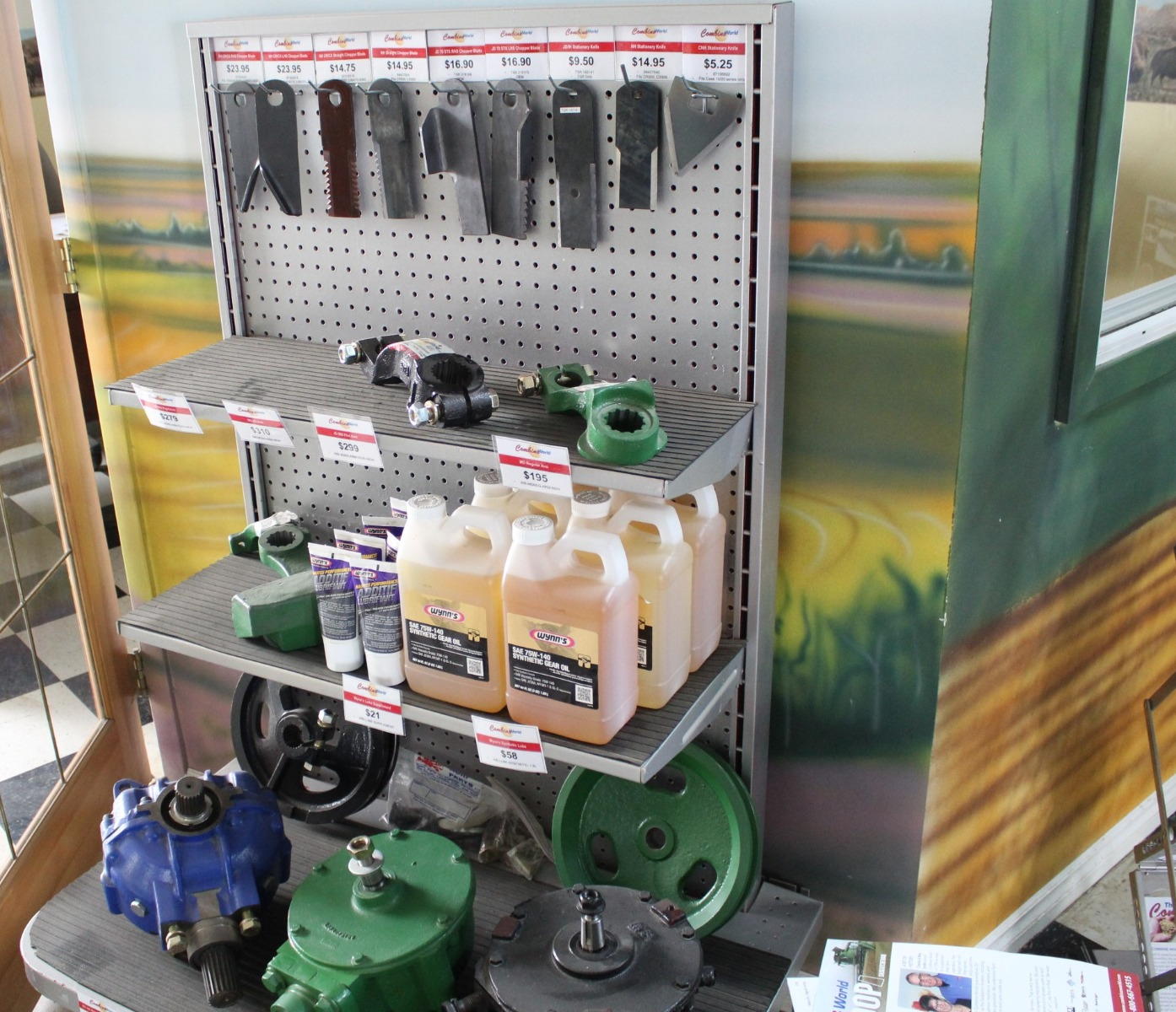 Some of Combine World's parts on our show floor in our main office
